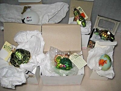 Lot 6 Christmas Ornaments - Green Sea Turtle - Bronners, Old World Christmas NIB