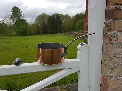 Antique French Heavy Copper and Iron Saucepan Pot Kitchen Genuine Vintage