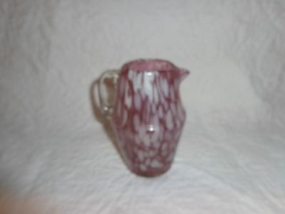 Small Vintage or Antique End Of Day Glass Pitcher/Creamer, Pink Glass