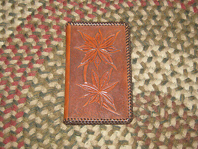 Hand Carved Tooled Laced Leather Notebook Signed by Artist. Familiar Leaf Design Tooled Leather Notebook