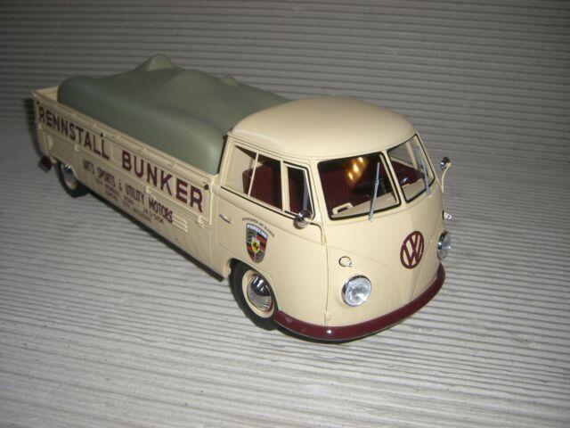 SCHUCO VW T 1 BUNKER RACE CAR TRANSPORTER 1:18