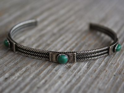 Early Navajo Cerrillos Lake Turquoise Sterling Cuff Bracelet c.1900