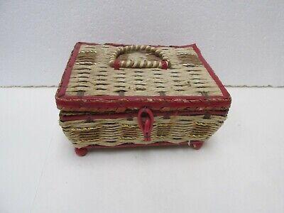 Vintage Wicker Basket Sewing Box Decoration jrs149