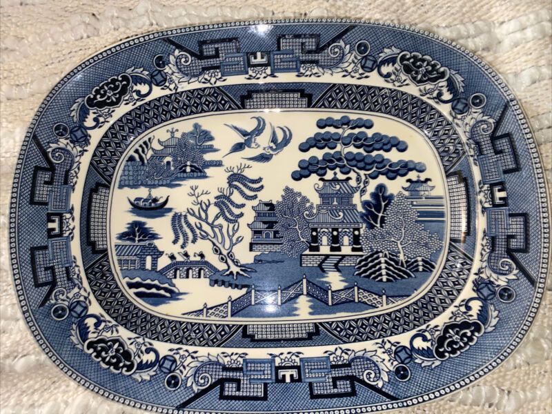 LARGE ANTIQUE SEMI CHINA WILLOW BLUE and WHITE PLATTER