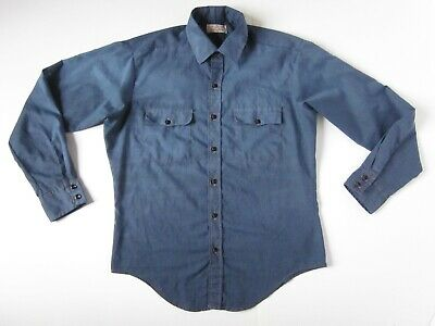 1970s Mens Shirt Styles – Vintage 70s Shirts for Guys Mens 1970s Vintage Blue Button Up Western Work Wear Long Sleeve Shirt LARGE $40.00 AT vintagedancer.com