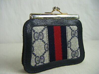 GUCCI ACCESSORY COLLECTION Vtg 70s Navy Monogram Small Kiss Lock Coin Wallet