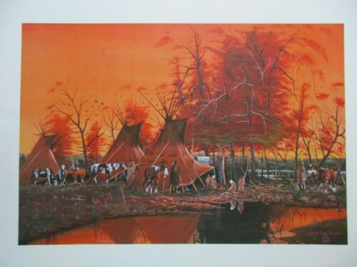 """NATIVE AMERICAN CAMP, PRINT POSTER, 23""""X18"""" READY TO FRAME & HANG, SD-0921*05864"""