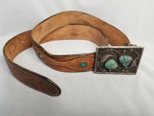 """Vintage Navajo Turquoise Belt Buckle plus 40"""" belt with Turquoise in Leather"""