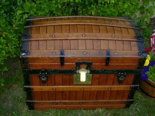 ANTIQUE  OAK SLAT SLATTED EXCELSIOR DOME TOP TRUNK CHEST BRASS LOCK & TRAY