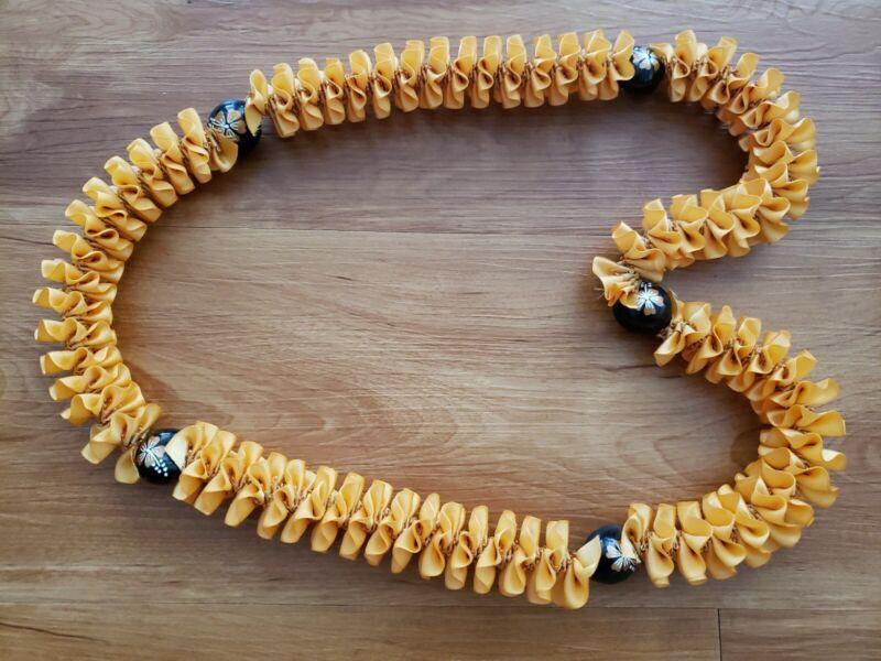 Graduation Party Beautiful Hawaiian Gold w/ Gold Hibiscus Kukui Nuts Ribbon Lei