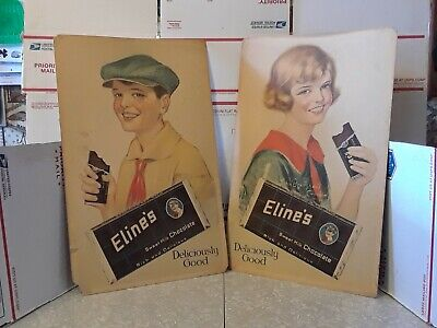 2 Vintage Eline's Sweet Milk Chocolate Candy 1922 Cardboard Store Display