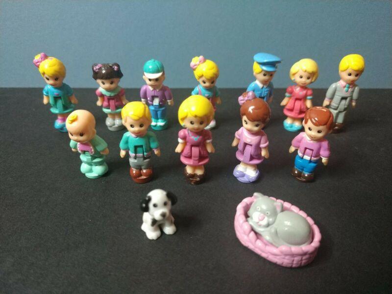 "12 LGT Galoob Dollhouse Miniature Tiny 1"" Dolls + Kitty w/ bed & Dog Vintage 94"