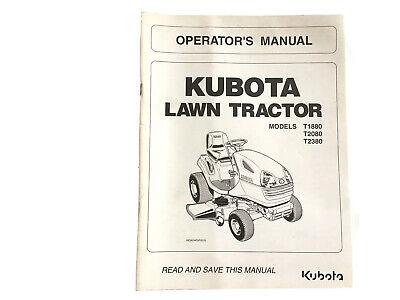 Kubota Lawn Tractors Operators Manual T1880 T2080 T2380 Stock 23jj
