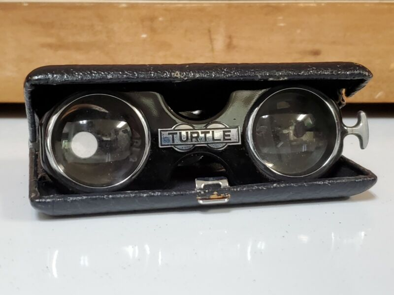 Vintage Turtle Opera Folding Glasses Black Leather Case