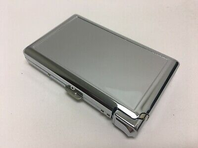 Metal Case Tobacco Cigarette Holder Comtainer Box Silver New w/Built in Lighter