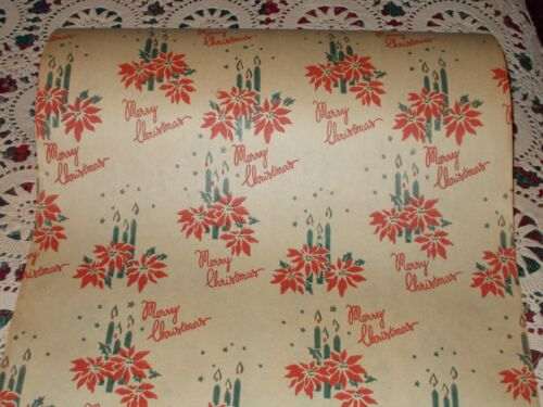 VTG MERRY CHRISTMAS 1940 WW2 WRAPPING PAPER 2 YARDS CANDLES POINSETTIAS