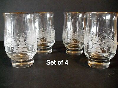 4 Libby Christmas Winter White Frosted Pine Trees Tumblers Glasses Arby's