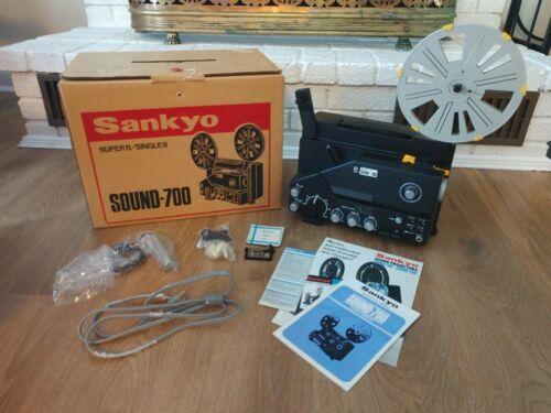 Vintage Sankyo Sound 700 Super 8 Projector in Original Box + Microphone + Extras