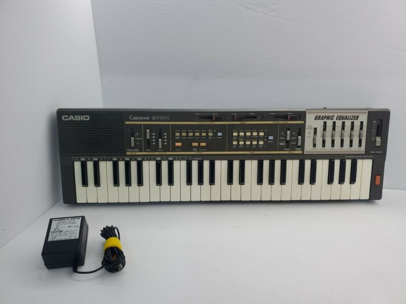 Casio MT-100 Casiotone Keyboard Synthesizer Graphic Equalizer Power Cord Working