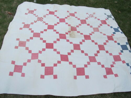 BEAUTIFUL RED EARLY ANTIQUE PATCHWORK QUILT, c1860, Irish Chain, Victorian