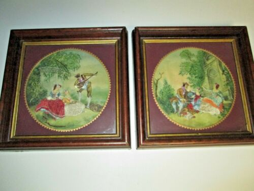 Lot 2 Vintage 1946 Framed Completed HIAWATHA HEIRLOOM Embroidery Pictures