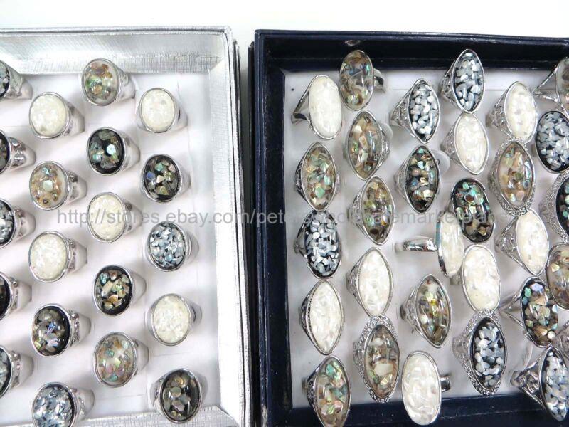 15pcs  chunky seashell ring fashion jewelry accessories bulk