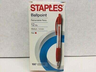 Staples Retractable Ballpoint Pens Medium Point 1.0 Mm Red Ink Dozen 50792