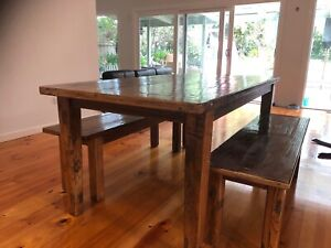 Wooden Table with Bench Seats