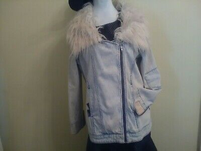 Some Days Lovin Scando light indigo wash patch detail designer jean jacket. (Indigo Patch)