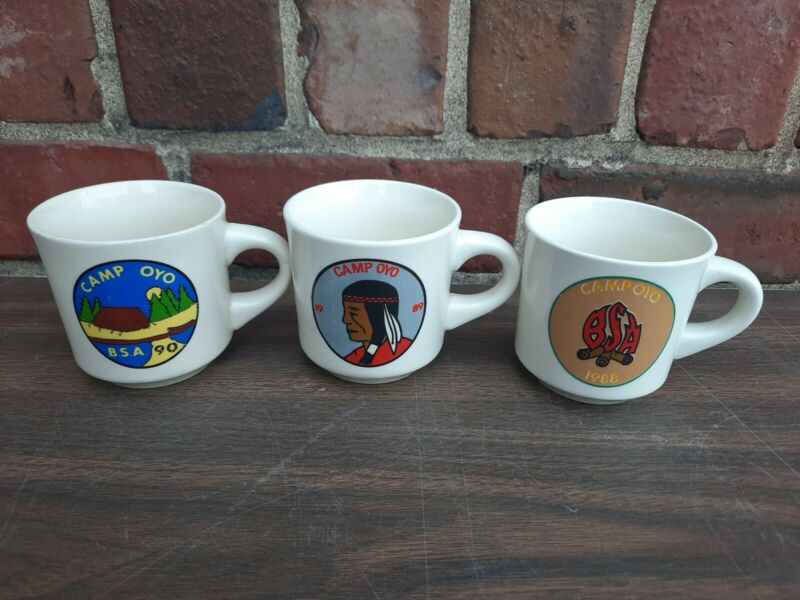 (3) Vintage Boys Scout Mugs Camp Oyo Portsmouth OHIO 1988 89 90 Excellent