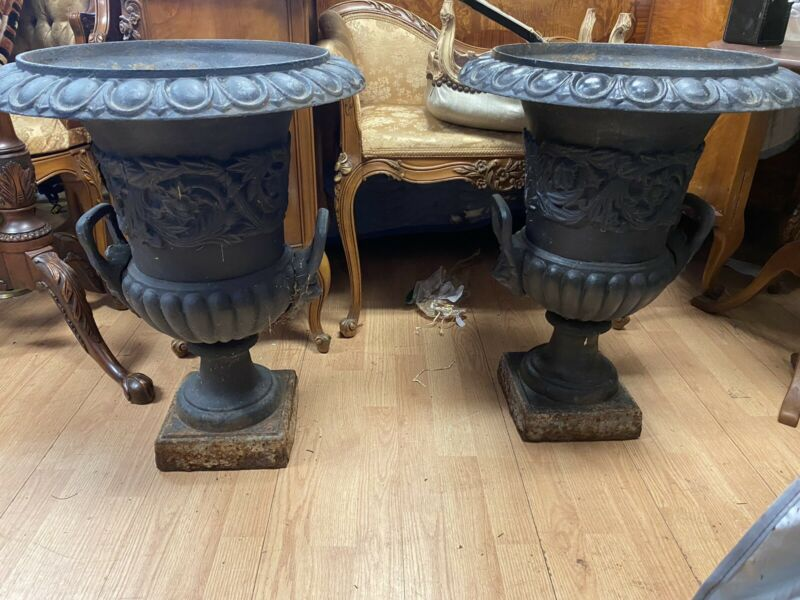 Pair of Antique Cast Iron Garden Planters Urns Lions And Handles 24""