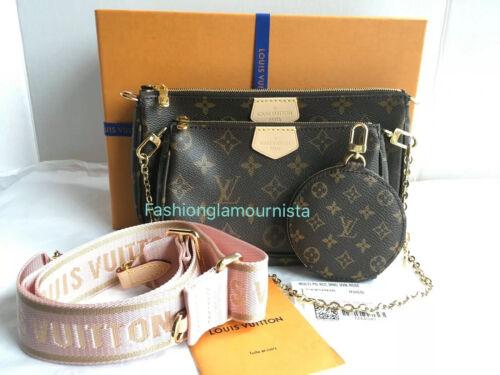 Auth BNIB Louis Vuitton Multi Pochette Pink Monogram Canvas Bag Clutch 2020