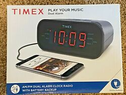 Timex Alarm Clock Radio with Battery Backup Play Music from Smartphone NEW