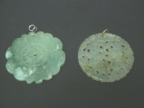 COLLECTION LOT **ASIAN** TWO CARVED JADE PENDANTS
