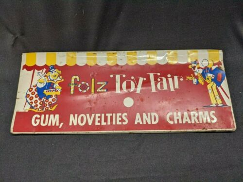 Vintage Folz Toy Fair Metal Sign Faceplate for Gumball Machine Clowns