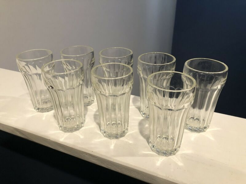 "8 Vintage Clear Small Hazel Atlas Ribbed Glasses Juice Glasses 4"" Tall"