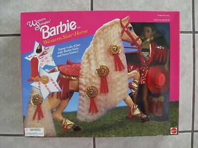 #13478 A/A WESTERN STAMPIN BARBIE & WESTERN STAR HORSE GIFT SET (c)1993