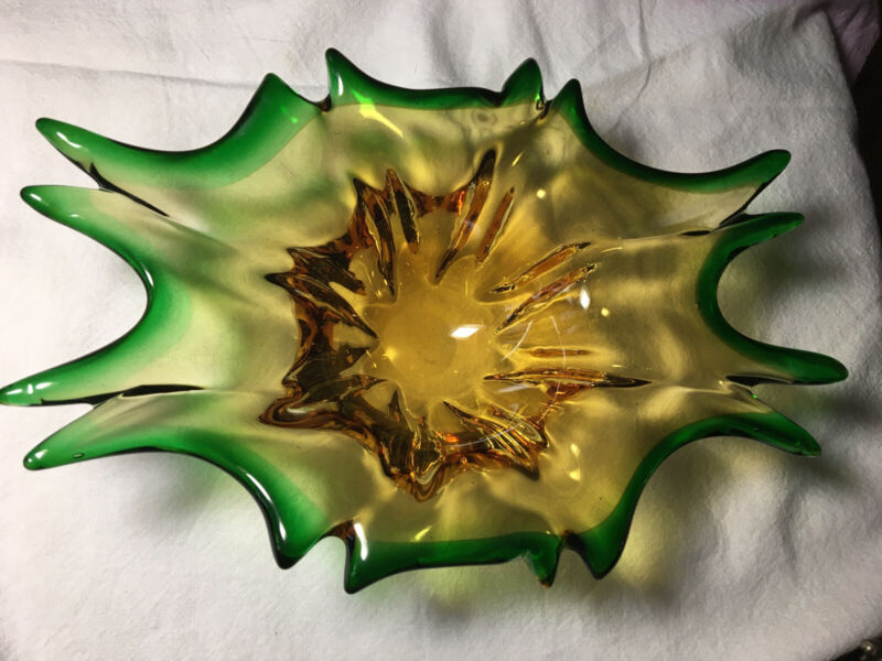 Murano Italian Art Glass Amber Green Vintage Dish Bowl Hand Blown Exc Cond