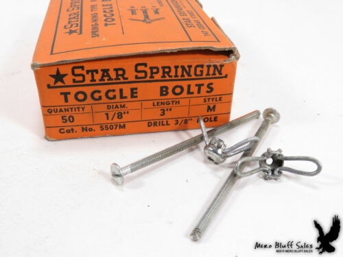 """NOS Spring-Wing Rust Proofed Toggle Bolts 1/8"""" x 3"""" Style M 36 Qty"""