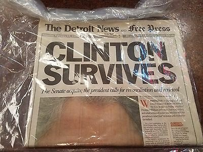 Detroit News And Free Press   Clinton Survives   February 13  1999