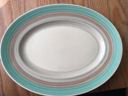 "SUSIE COOPER Wedding Rings Tan & Green 16"" Long PLATTER or Serving TRAY ENGLAND"