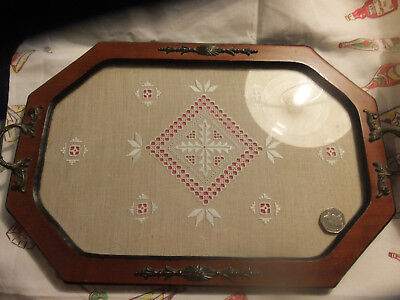BEAUTIFUL OLD TRAY  Lace under Glass