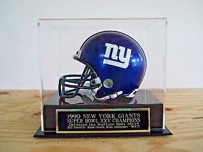 Football Mini Helmet Case With A Giants Super Bowl 25 Engraved Nameplate
