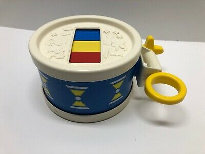 Vintage 1976 Fisher Price Xylo Drum & Mallet Stick Toy Instrument Xylophone Blue