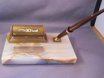 Sheaffer White Marble Vintage Desk Set--touchdown Fill Pen--medium Point-works