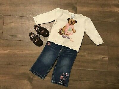 Polar Bear Outfit (Ralph Lauren Baby Girl Polar Bear Sweater Jeans Shoes 9 months Outfit)