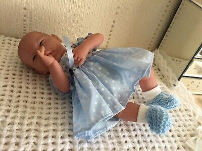 Berenguer Baby Doll With Soft Body In Blue/White Spotted Dress, Nappy + Shoes.