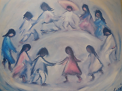 Large Original Art by Ted DeGrazia 'Los Ninos' Signed Lithograph Print 1981