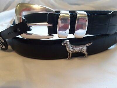 Pointer Leather Belt (Men's Genuine Leather Black Belt with Labrador Pointer Dog Conchos 34)