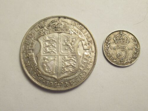 TWO Great Britain Silver Coins, 1923 1/2 crown & 1916 3 pence